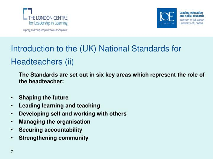 Introduction to the (UK) National Standards for Headteachers (ii)