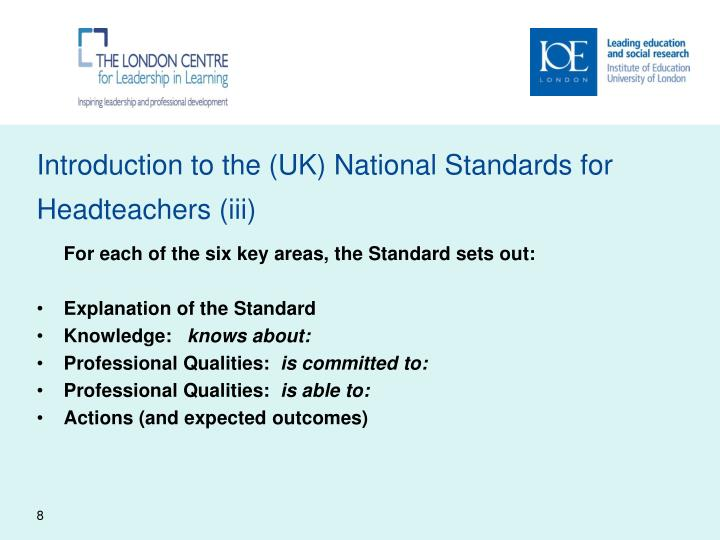 Introduction to the (UK) National Standards for Headteachers (iii)