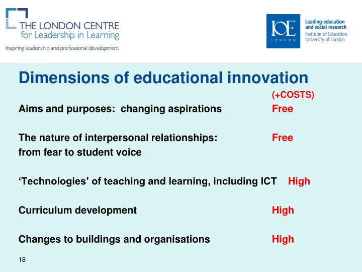 Dimensions of educational innovation