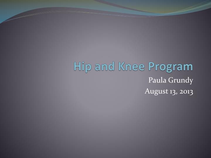 Hip and knee program