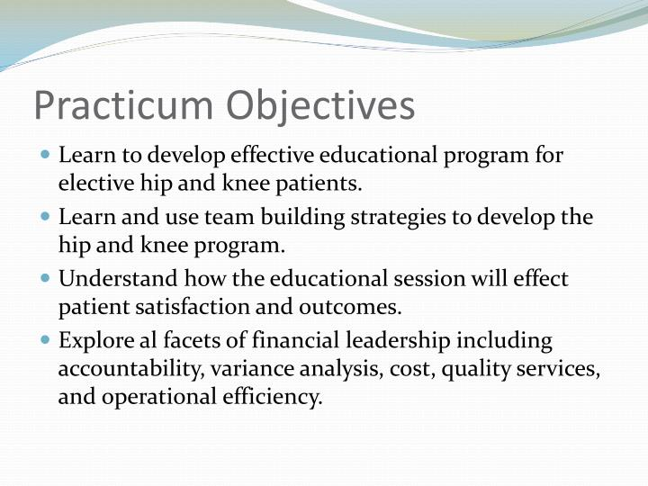 Practicum Objectives