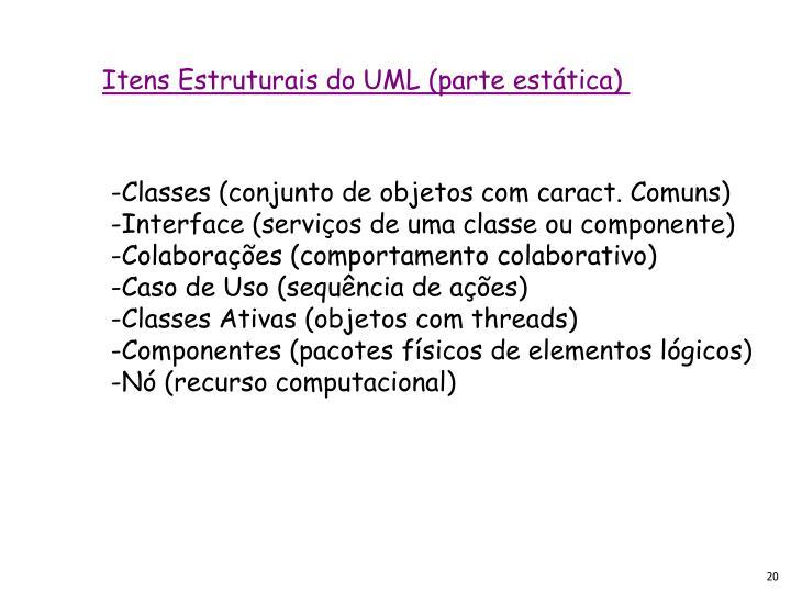 Itens Estruturais do UML (parte estática)