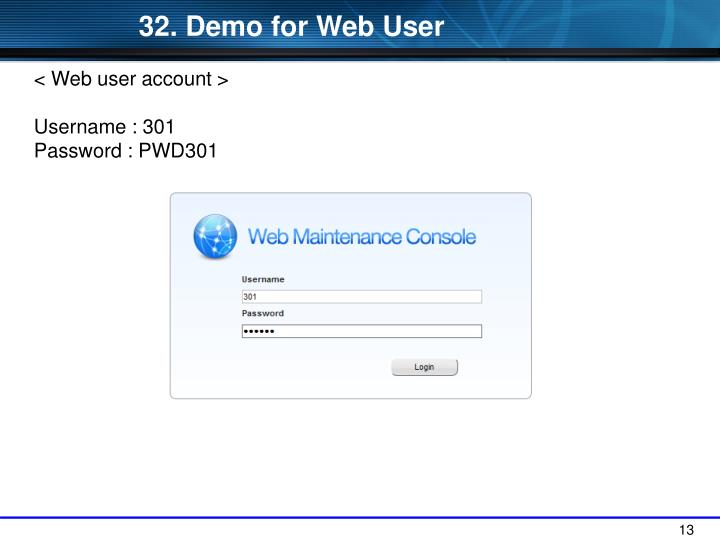 32. Demo for Web User