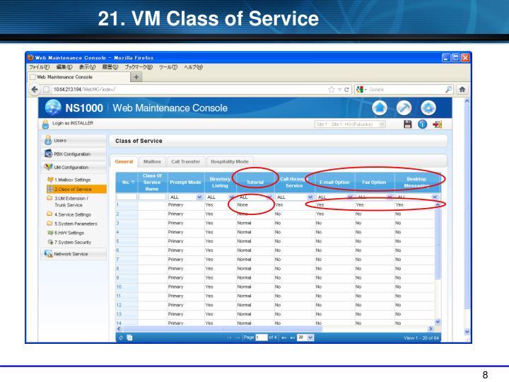 21. VM Class of Service