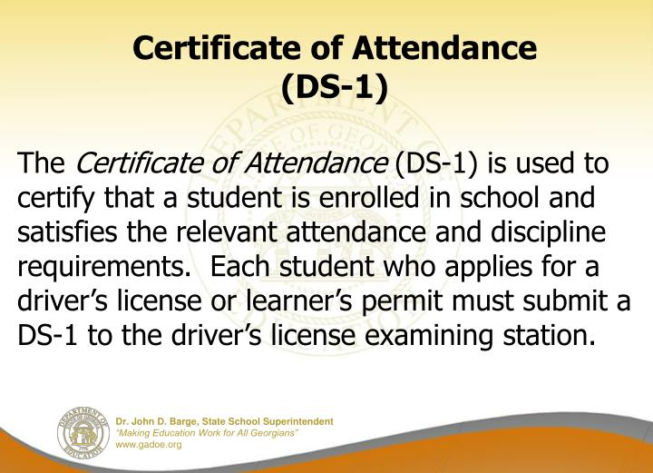 Certificate of Attendance (DS-1)