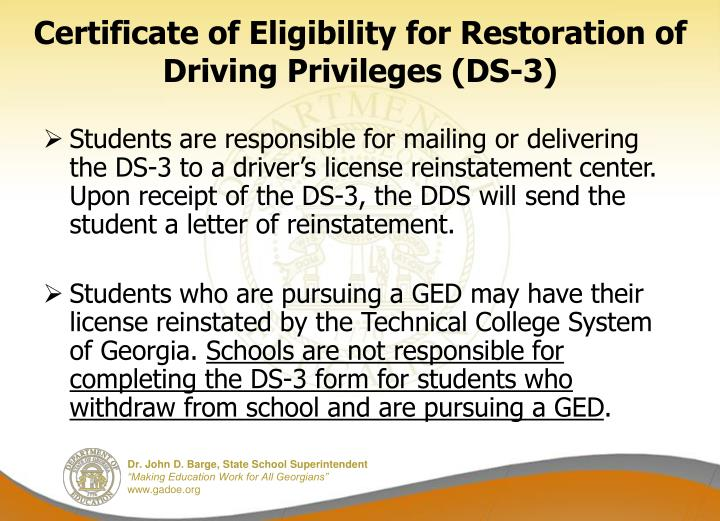Certificate of Eligibility for Restoration of Driving Privileges (DS-3)