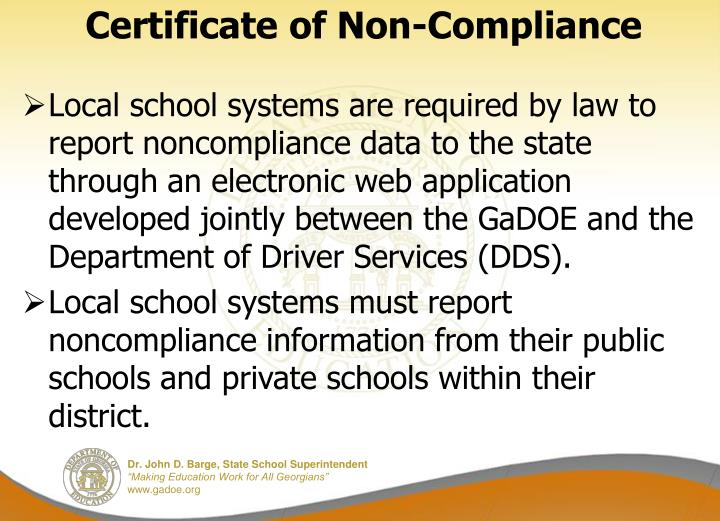 Certificate of Non-Compliance