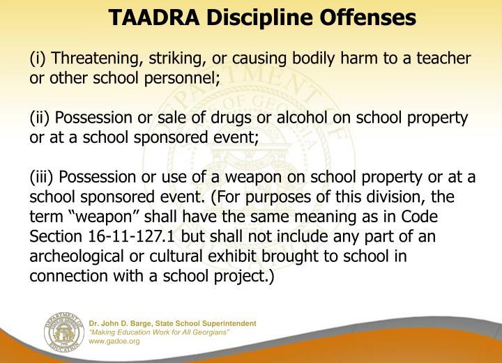 TAADRA Discipline Offenses