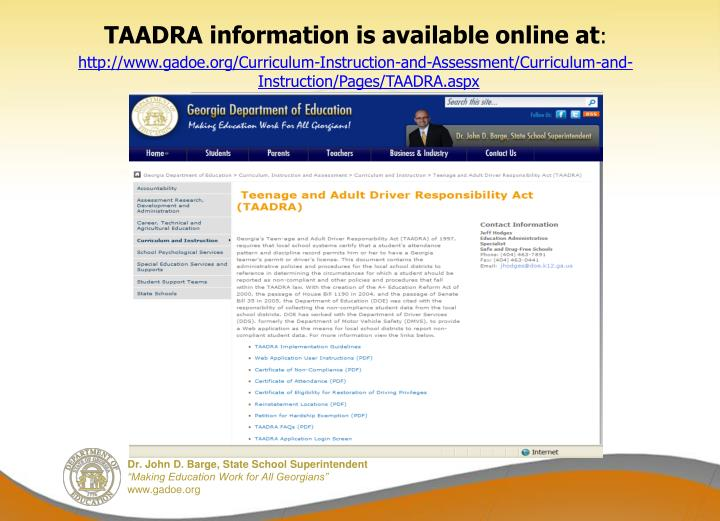 TAADRA information is available online at