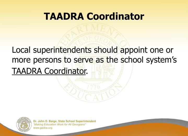 TAADRA Coordinator