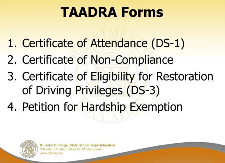 TAADRA Forms