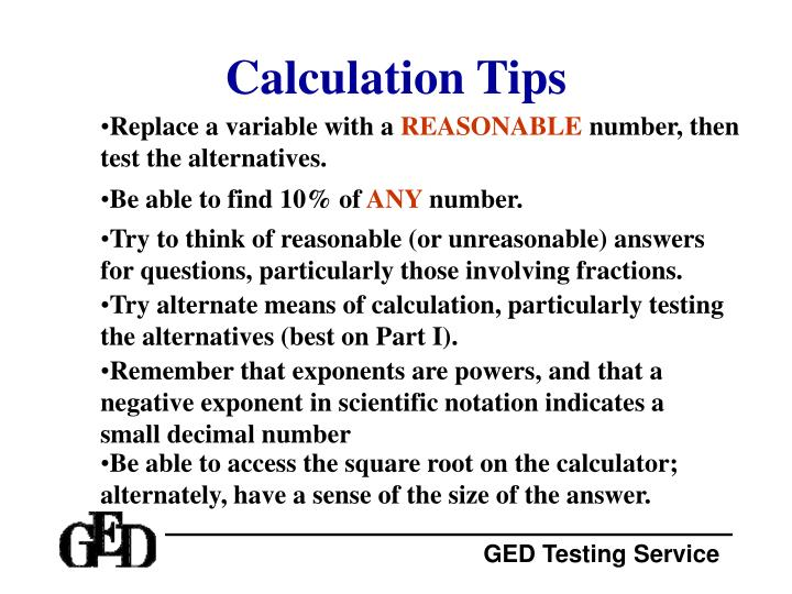 Calculation Tips