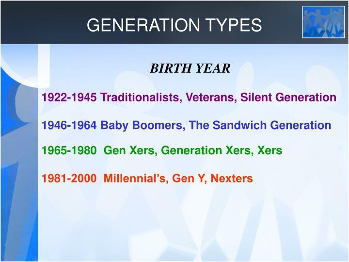 GENERATION TYPES
