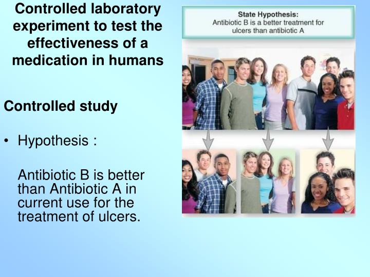 Controlled laboratory experiment to test the effectiveness of a medication in humans