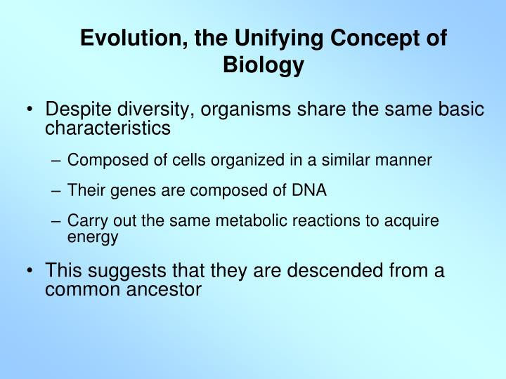Evolution, the Unifying Concept of Biology