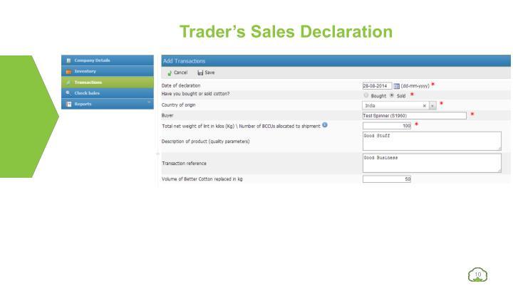 Trader's Sales Declaration