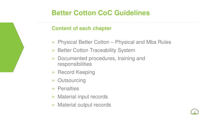 Better Cotton CoC Guidelines