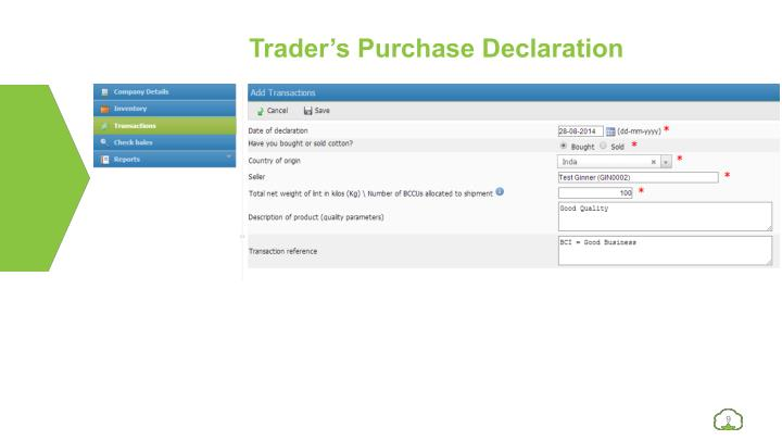 Trader's Purchase Declaration