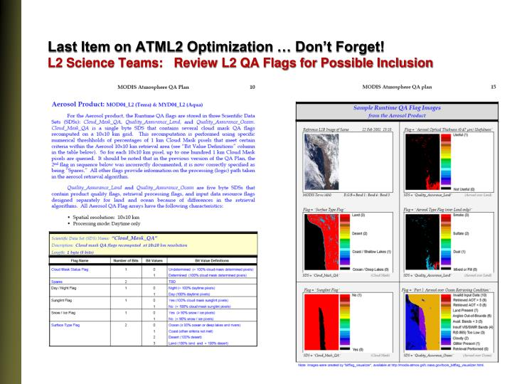 Last Item on ATML2 Optimization … Don't Forget!