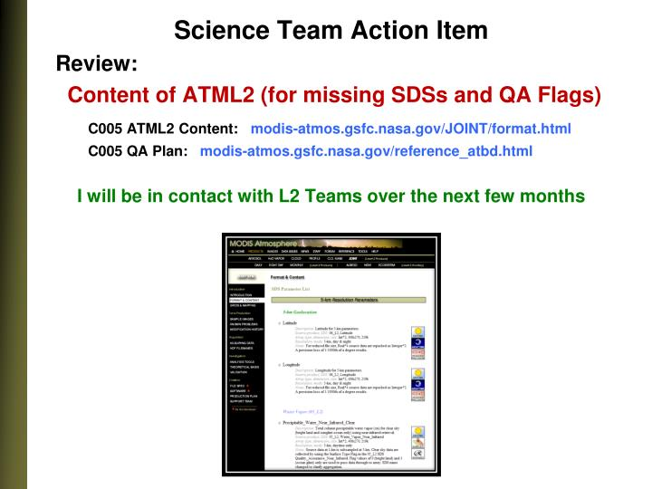 Science Team Action Item