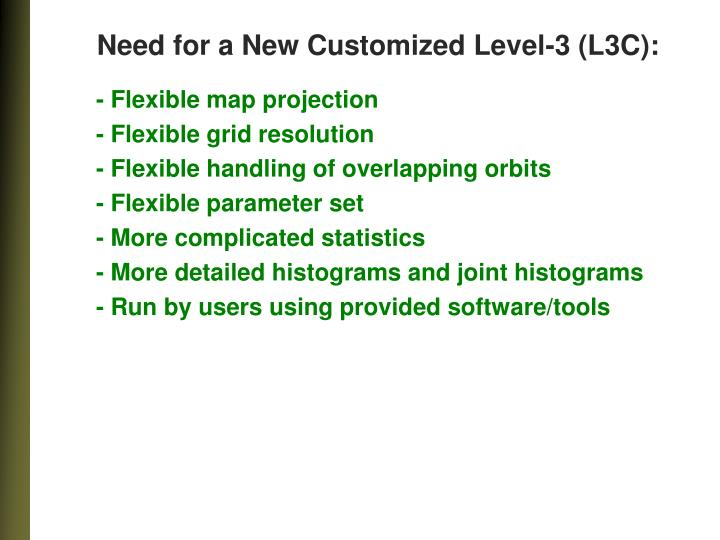 Need for a New Customized Level-3 (L3C):