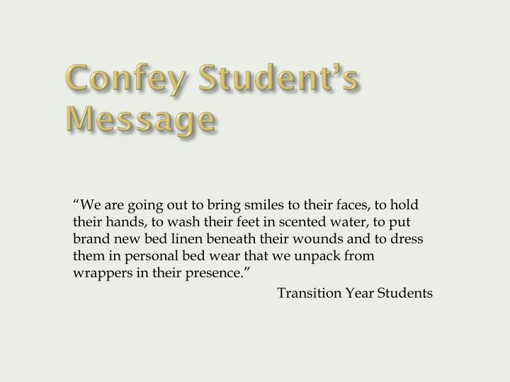 Confey Student's Message