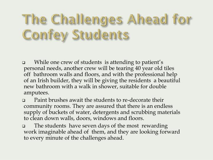The Challenges Ahead for Confey Students