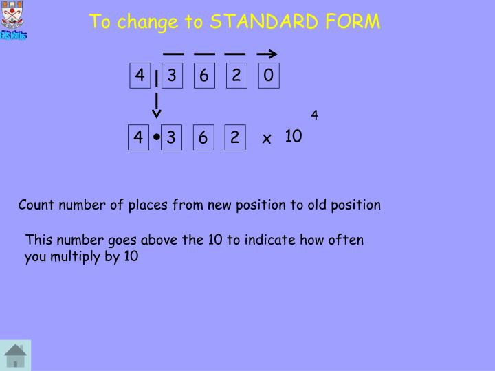 To change to STANDARD FORM