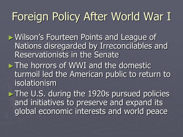 Foreign policy after world war i