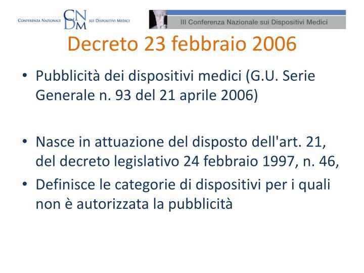 Decreto 23 febbraio 2006