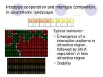 intratype cooperation and intertype competition in asymmetric landscape