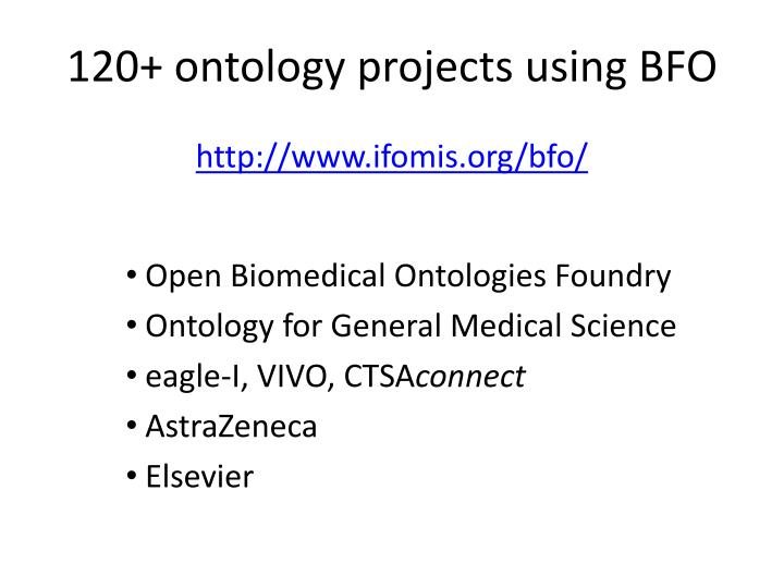 120+ ontology projects using BFO