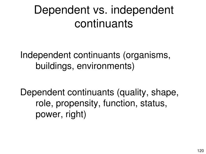 Dependent vs. independent continuants