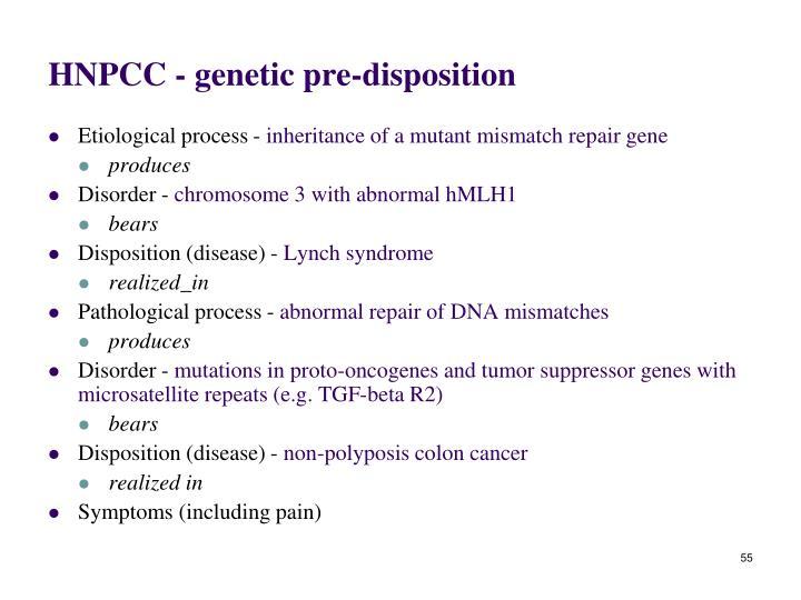 HNPCC - genetic pre-disposition