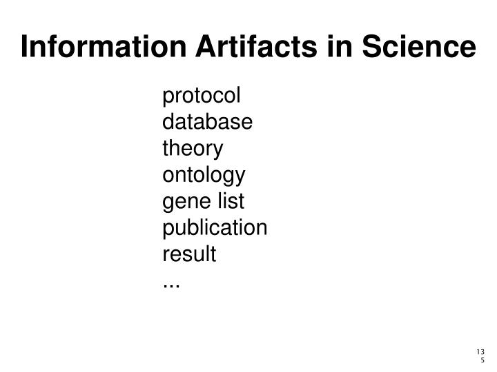 Information Artifacts in Science