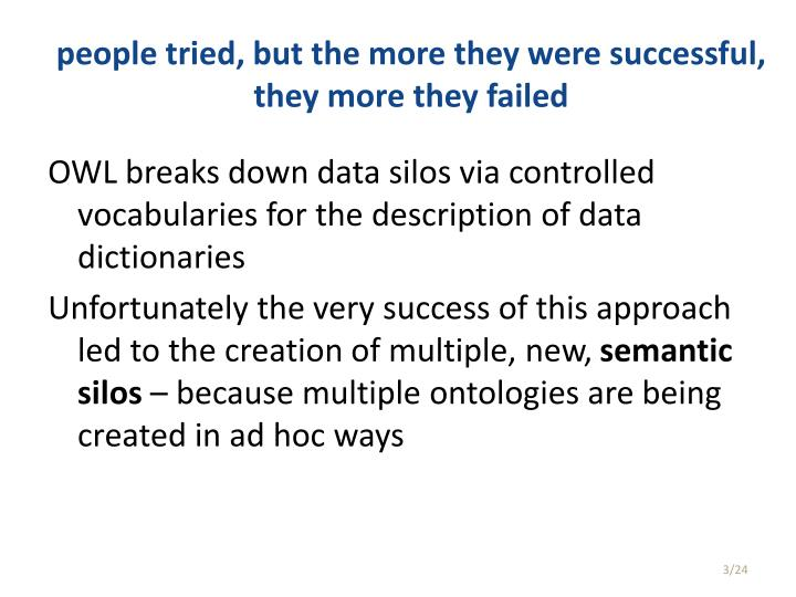 people tried, but the more they were successful, they more they failed
