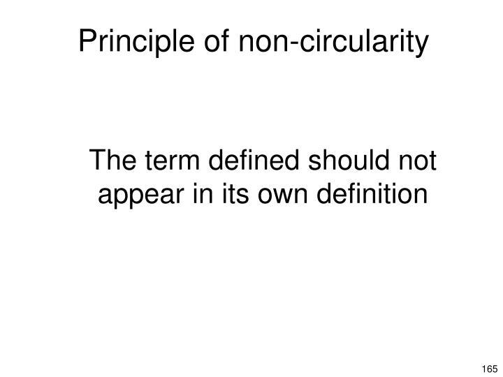 Principle of non-circularity