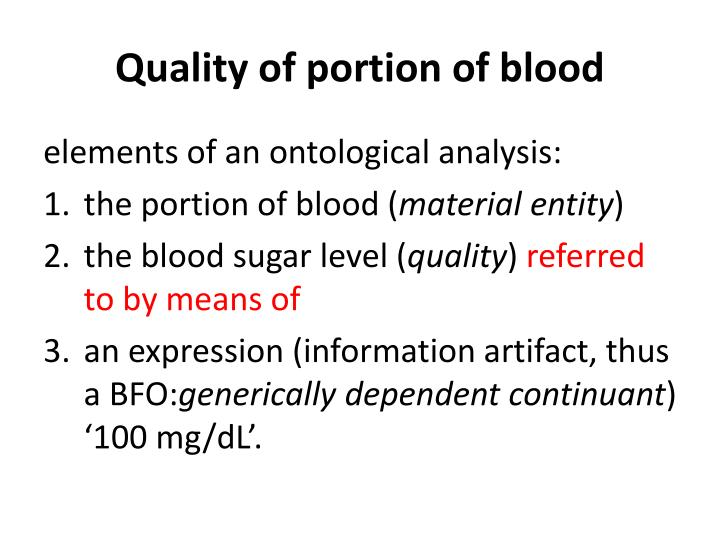 Quality of portion of blood