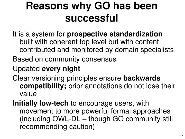 Reasons why GO has been successful