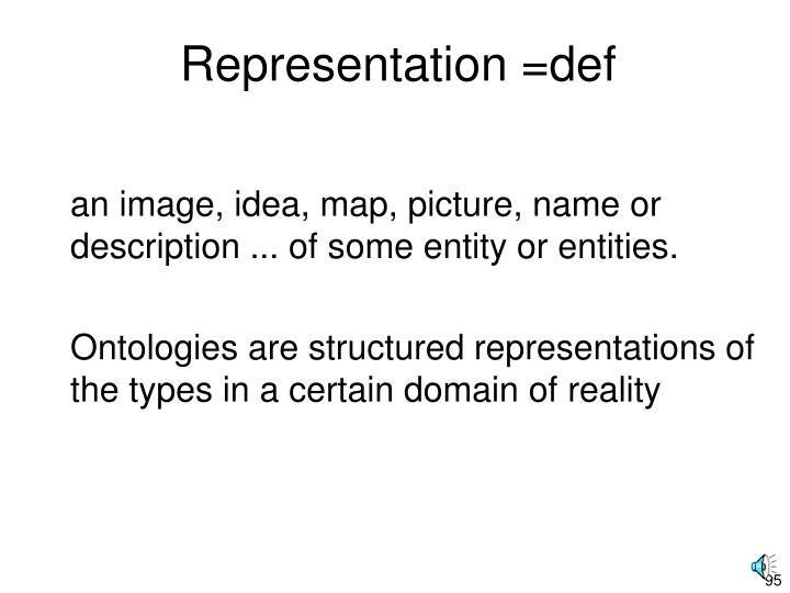 Representation =def