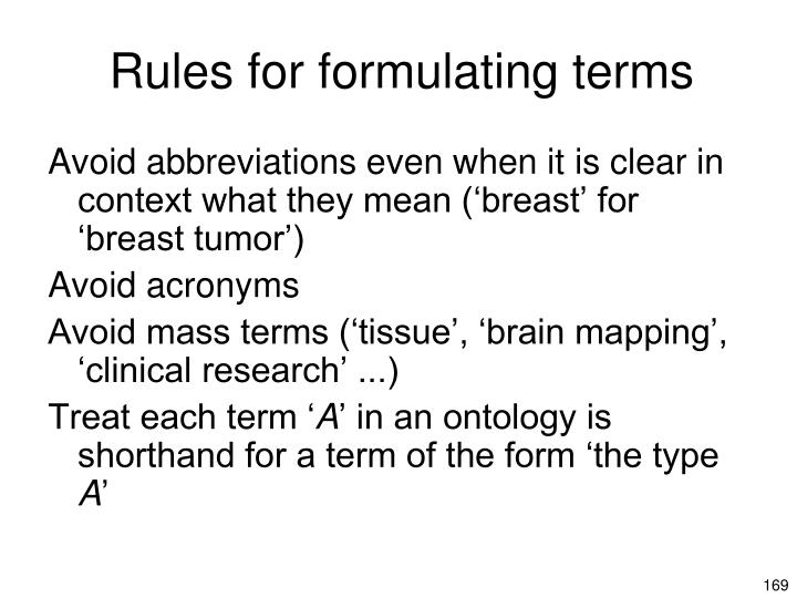 Rules for formulating terms
