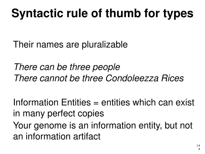 Syntactic rule of thumb for types