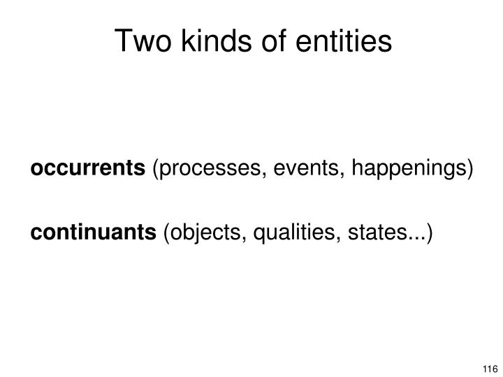 Two kinds of entities