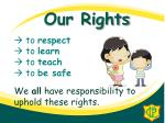 to respect to learn to teach to be safe we all have responsibility to uphold these rights