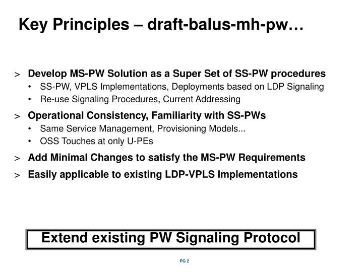 Key Principles – draft-balus-mh-pw…