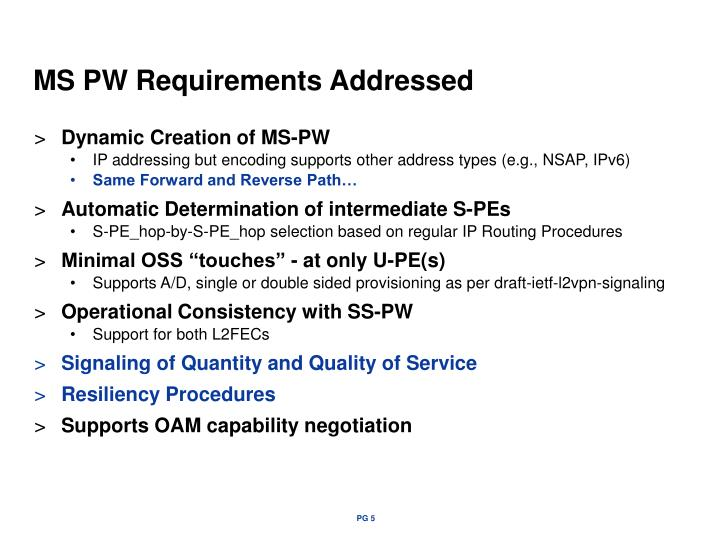 Ms pw requirements addressed