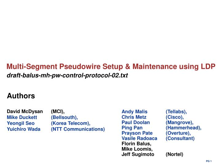Multi-Segment Pseudowire Setup & Maintenance using LDP