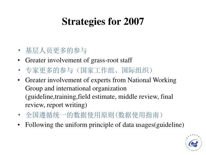 Strategies for 2007