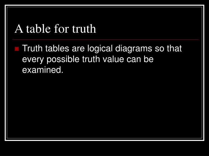A table for truth