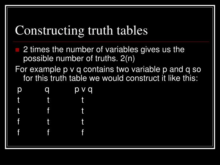 Constructing truth tables